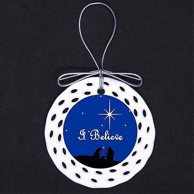 I Believe Porcelain Ornament Gift Nativity Christmas Star Night Religious