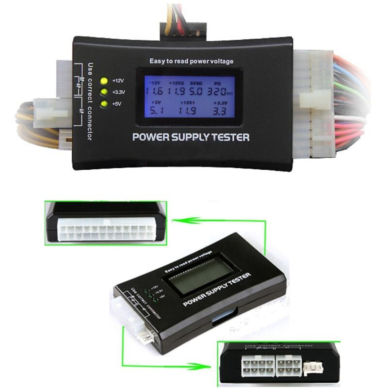 Power Supply Tester 20+4 Pin with LCD for ATX, ITX, BTX, PCI-E, SATA, HDD