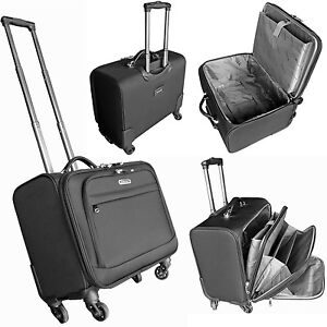 4 Wheeled Large Laptop Business Trolley Case Pilot Case Cabin Luggage Bag 17.5