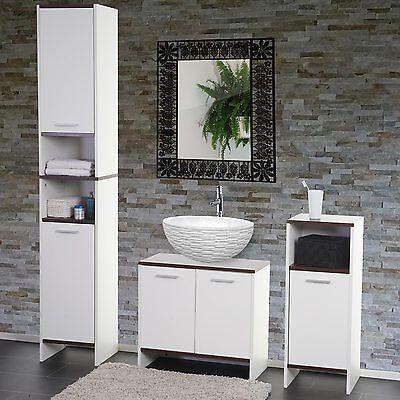 Arredo bagno serie Arezzo sottolavabo+mobile alto+mobiletto ~ bianco-marrone D