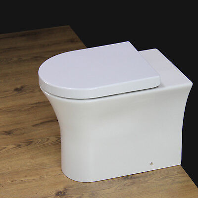Toilet WC Back to Wall Bathroom Rimless New Comfort Height round bowl Seat B16S
