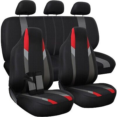 Car Seat CoversRed Gray Black Flat Cloth Set For Auto SUV Truck Van