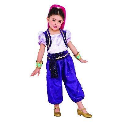 Toddler Girls 3T-4T/3-4 Shimmer and Shine Genie Halloween Costume & Headpiece](Genie Headpiece)