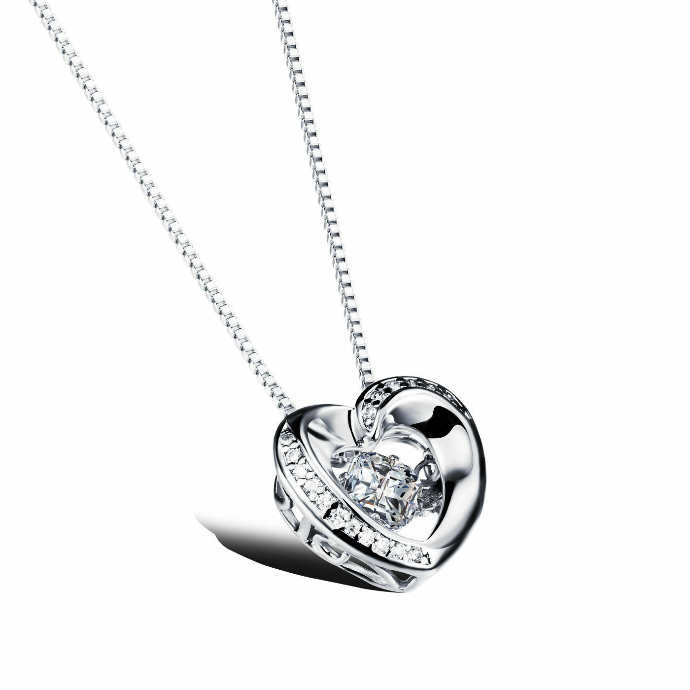 Jewelry - Silver Floating Dancing Crystal Zirconia Stone Heart Frame Pendant Necklace A8