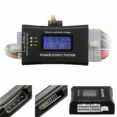 PC Computer LCD 20/24 Pin 4 PSU ATX BTX ITX SATA HDD Digital Power Supply Tester