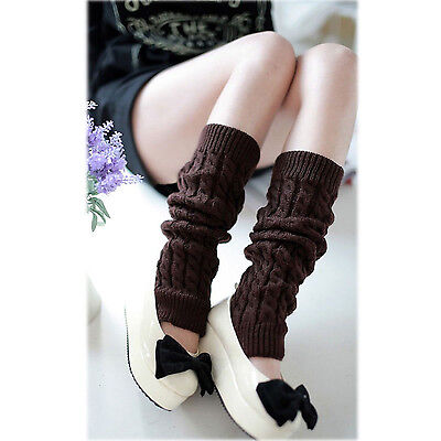 Christmas Cable Knit Leg Warmers Gray Brown Soft Stretch Fashion Cute