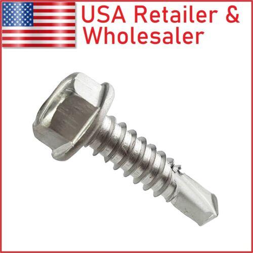 "#8, 1/4"" Hex Washer Head Self Tapping Sheet Metal TEK Screw 410 Stainless Steel"