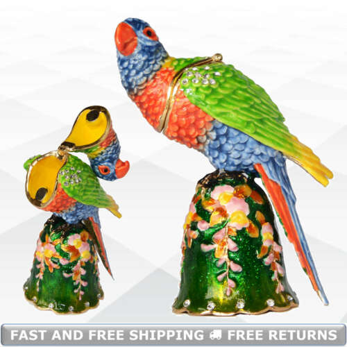 Parrot Bird Enamel Hinged Trinket Box With Lid Bejeweled Crystals Decor Ornament