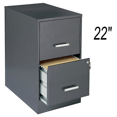 Metal 22 2-drawer Office File Cabinet Dark Gray With Lock Letter Storage