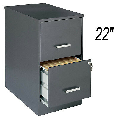 Metal 22 2-drawer Office File Cabinet Dark Gray With Lock Legal Letter Storage
