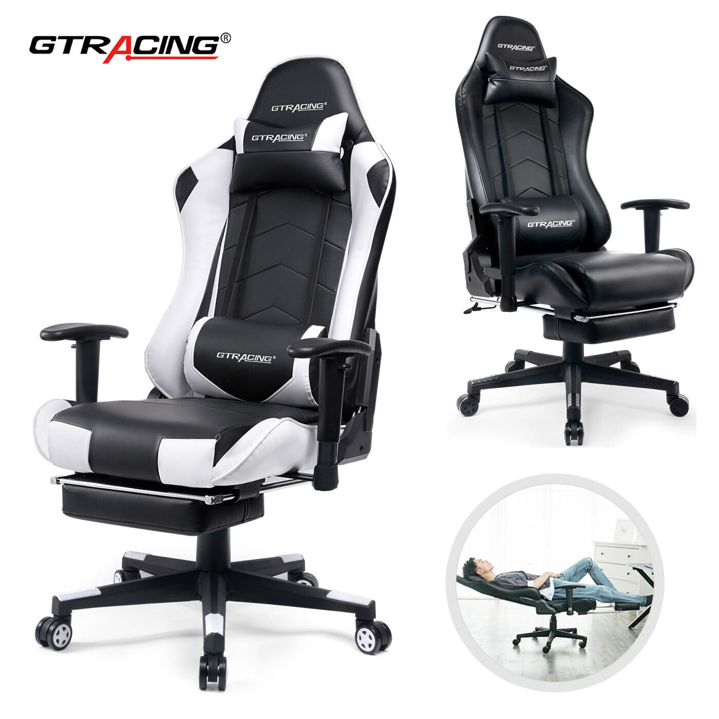 Picture of: Gtracing Ergonomic Chair Racing Chair Backrest And Seat Height Adjustment Gt101 Chairs Stools Business Industrial Sidra Hospital