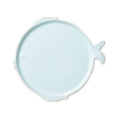Vietri Lastra Fish Melamine Aqua Dinner Plate - Set of 4
