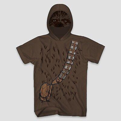 Star Wars Chewbacca Short Sleeve Hooded Mask T-Shirt~Halloween/Cosplay Costume - Chewbacca Halloween Costume