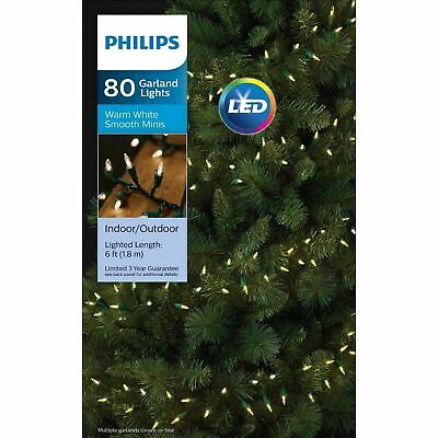 Philips 80ct LED Christmas Smooth Mini Garland String Lights Warm White NIB