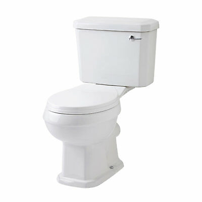 Closed Coupled Traditional Bathroom Toilet WC + Seat White Ceramic Pan Cistern