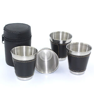 Best 4X Mini Stainless Steel Wine Alcohol Leather Wrap Cup Mug Hip Flask Pocket