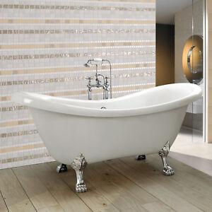 Traditional Freestanding Bath Bathroom Double Ended Slipper Roll Top Bath Tub