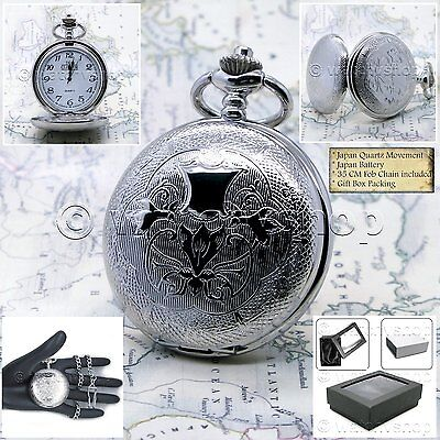 Pocket Watch Silver Plated Full Hunter Watch 47 MM for Men with Fob Chain P153