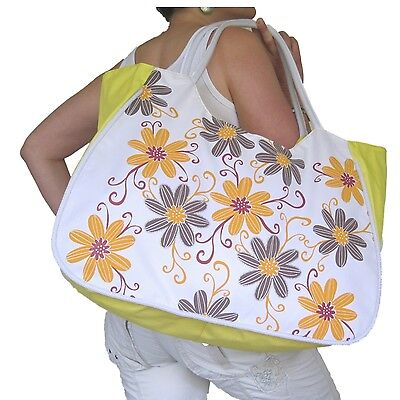 BEACH BAG Large Yellow,Orange Grey Flowers Floral,White,Huge,Hand Red Big Tote ()
