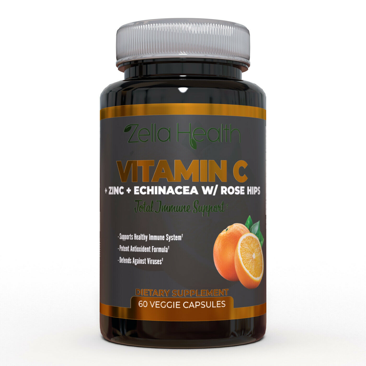 Zella Health - Vitamin C 1000mg w/ Zinc, Echinacea, Rose Hips - 60 Capsules  1