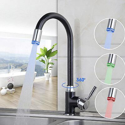 - AS 3 Color LED Single Hole Kitchen Swivel Spout Sink Basin Faucet  Mixer Tap