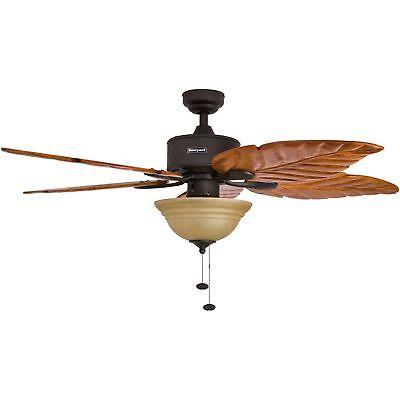 "52"" Tropical Ceiling Fan w Sunset Bowl Light Five Hand Carved Wooden Leaf Blades"