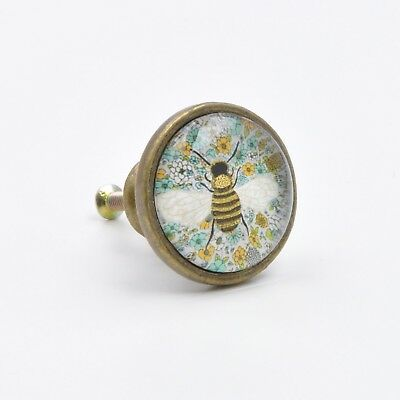 (Vintage Bee Print Knob, Pull, Handle, for Cupboards, Doors, Cabinets, Drawers, F)