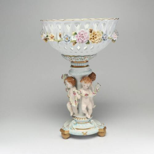 Large Antique Richard Klemm Dresden Putti Reticulated Porcelain Centerpiece