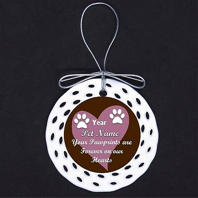 Pawprints on Our Hearts CUSTOM Porcelain Ornament Gift Dog Cat Loss Memorial Brn
