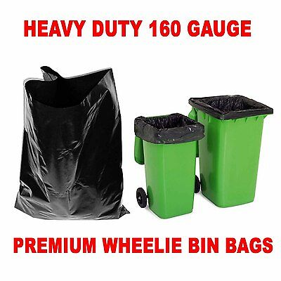 200 x Heavy Duty Wheelie Bin Bags /Black Sacks / (760x1200x1370) 160 Gauge
