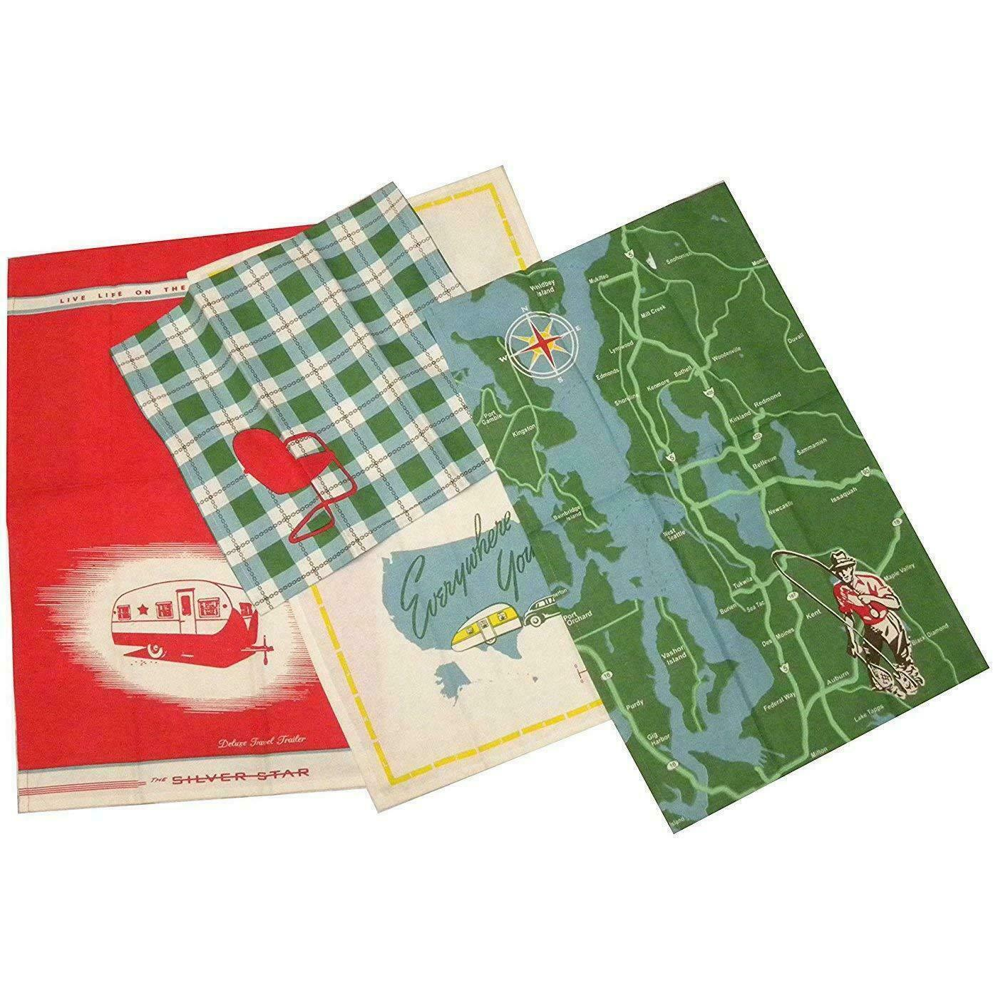 "Vintage/Retro Style Camping Tea Towel Set / Moda ""Great Outd"