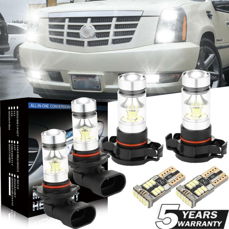 For Cadillac Escalade 07-14 6Pcs White LED Fog Driving DRL Light Bulbs Kit Lamp