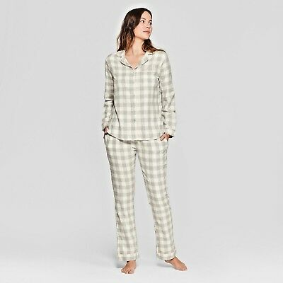 - Women 2 Piece Flannel Cotton Pajama Set Pant Long Sleeve Top & Pants XS to XXL