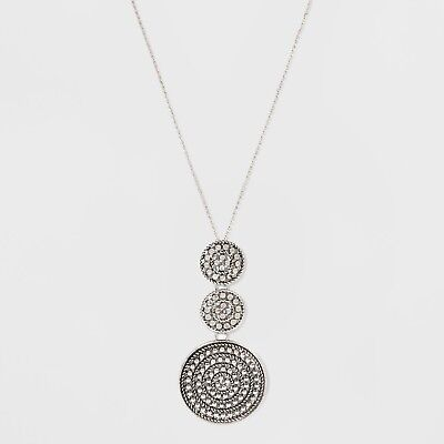 Textured Graduated Size Circle Pendant Necklace - Universal Thread™ Dark Gray