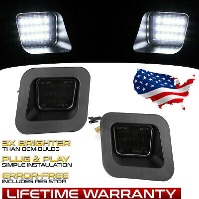 Pair SMOKED LED Rear License Plate Lights Set For 03-19 Dodge Ram 1500 2500 3500