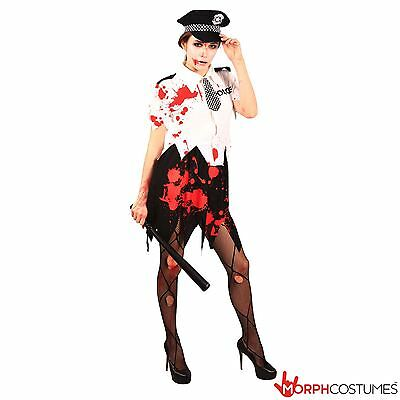 Womens Zombie Police Officer Halloween Fancy Dress Costume Ladies Cop Outfit](Police Woman Halloween Outfits)