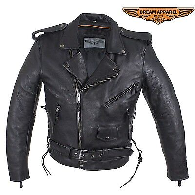 Mens Classic Split Cowhide Leather Police Motorcycle Jacket w/Zipper Side Laces  Classic Side Lace Motorcycle Jacket