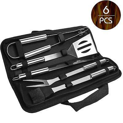 6 tlg BBQ Grill Set aus Edelstahl Zange Zubehör Grillbesteck Steak Messer Gabel