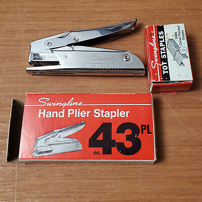 Vintage Swingline No. 43 Hand Plier Stapler W Tot Staples - Made In Usa 43pl