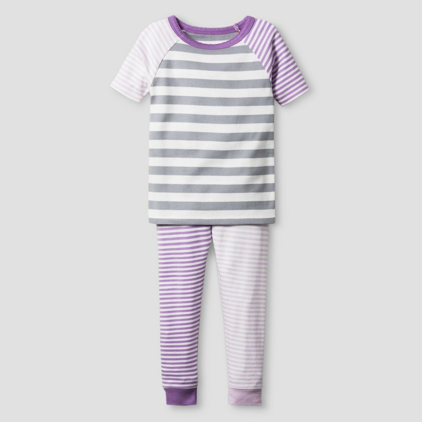 Toddler Girls Organic Cotton 2-Piece Pajama Set – Cat & Jack – Lilac Stripe 18M Baby