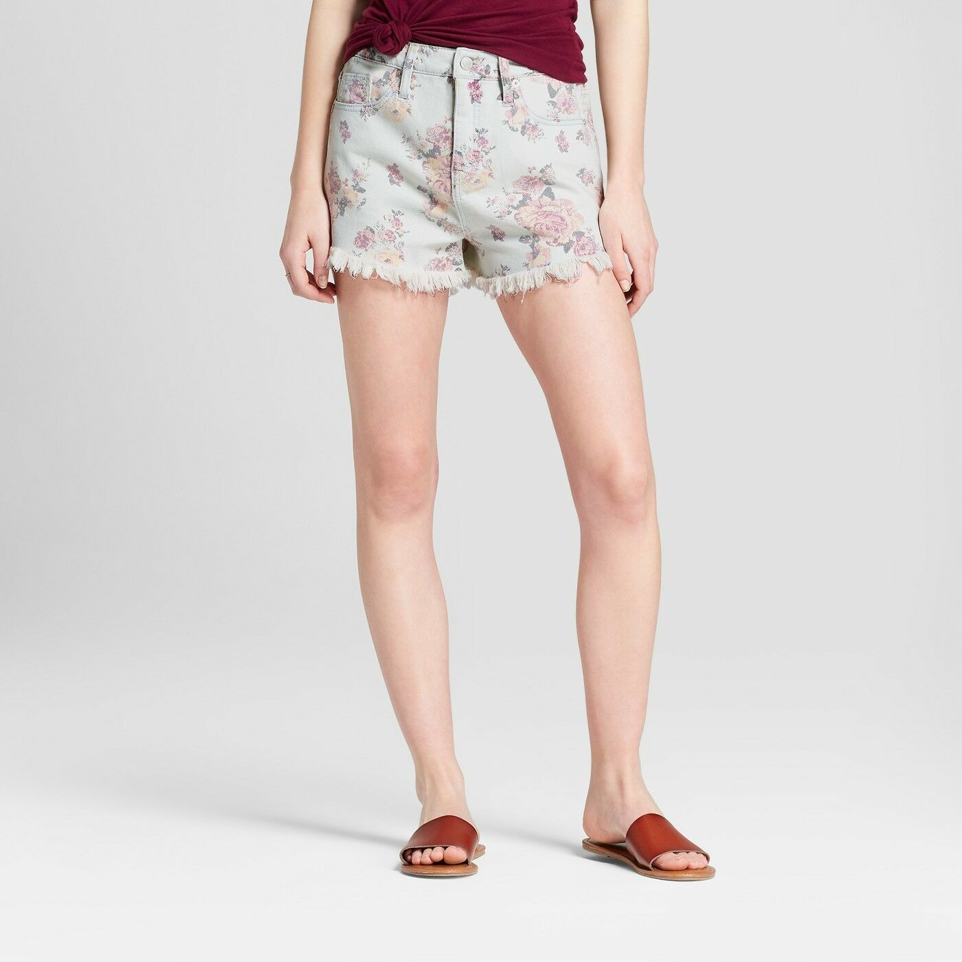 c08c056b69 Details about NWT Women s Floral Print High-Rise Jean Shorts - Mossimo  Supply Co. Light Cream