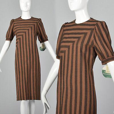80s Dresses | Casual to Party Dresses Medium 1980s Leslie Fay Dress Brown and Black Stripe VTG  Deadstock Short Sleeve $96.90 AT vintagedancer.com