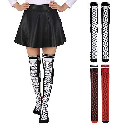 Women's Lace-Up Over The Knee Socks For Cosplay Harley Misfit Halloween Costume (Halloween Over The Knee Socks)