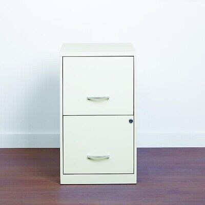 18 2 Drawer Metal File Cabinet Pearl White Smooth Patented Glide Suspension