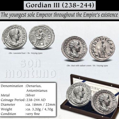 2 Ancient Roman Empire Silver Coins GORDIAN III 238-244AD Denarius Antoninianus