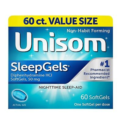 - New Unisom SleepGels Nighttime Sleep-Aid SoftGels Diphenhydramine HCl  60 Ct