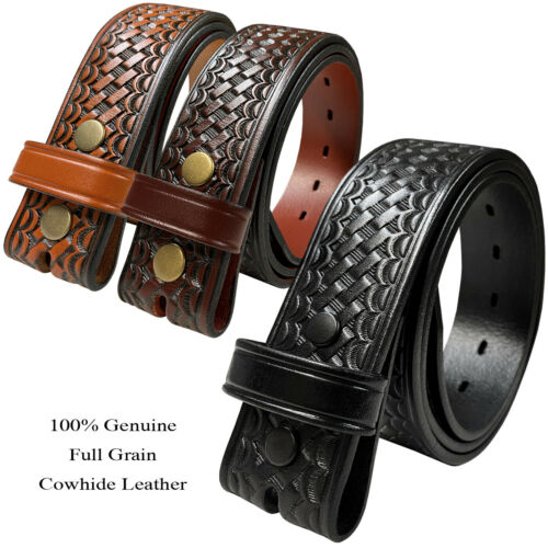 "Basketweave One Piece Full Grain Cowhide Leather Belt Strap 1-1/2""(38mm) Wide"