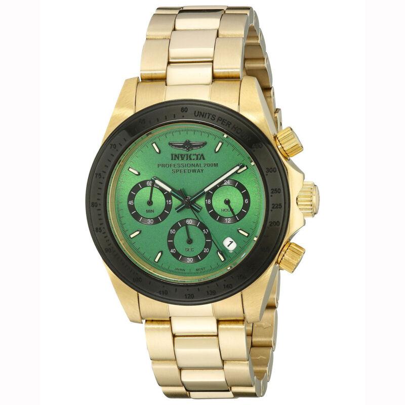 Invicta 17315 Men's Speedway Green Dial Chronograph Gold Steel Bracelet Watch
