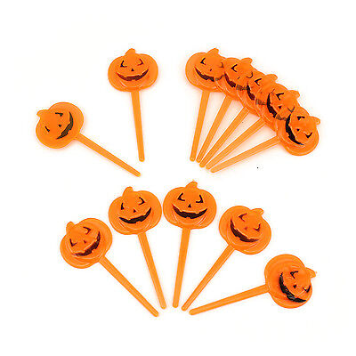 Halloween Plastic Orange Pumpkin Party Appetizers Cupcake Pick Toppers 12pc (Halloween Appetizers)