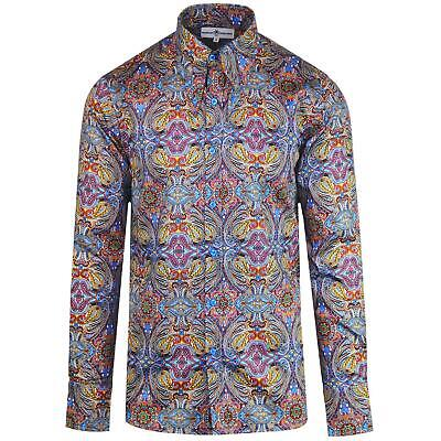 NEW MADCAP RETRO MOD MENS 60s 70s SPEAR COLLAR Gangster SHIRT in PAISLEY MC473 (60s Gangster)